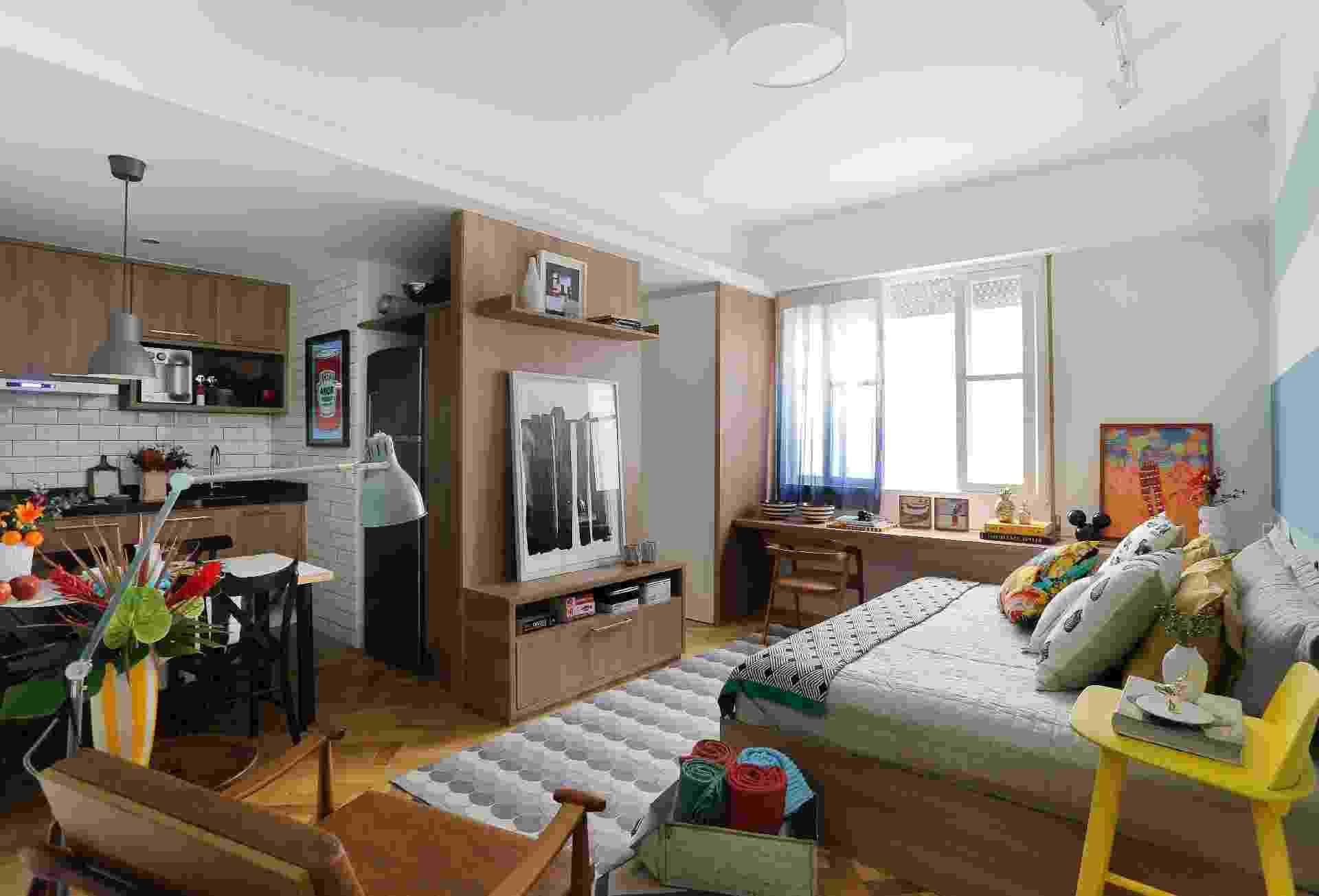 Reforma em apartamento de 26 m² traz clima praiano e comodidade a moradores - Leonardo Costa/Divulgação
