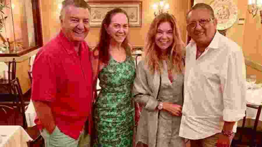 Arnaldo Cezar Coelho, Graça Coelho, Desirré Soares e Galvão Bueno - Reprodução/Instagram
