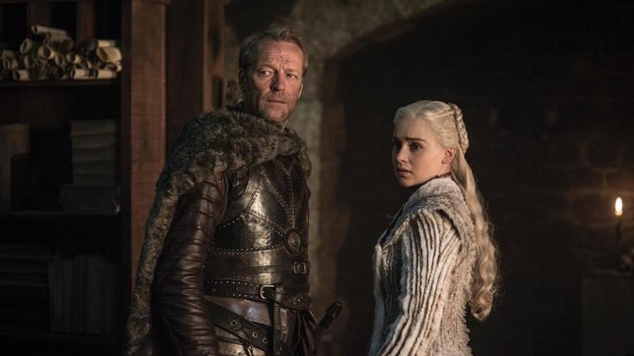 """Jorah (Iain Glen) e Daenerys (Emilia Clarke) em cena da oitava temporada de """"Game of Thrones"""" - Divulgação"""