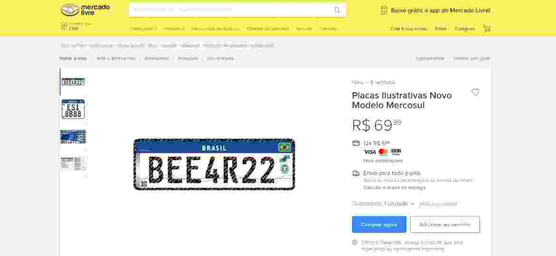 Reprodução de anúncio já removido da plataforma Mercado Livre; vendedor prometia placa de alumínio com película