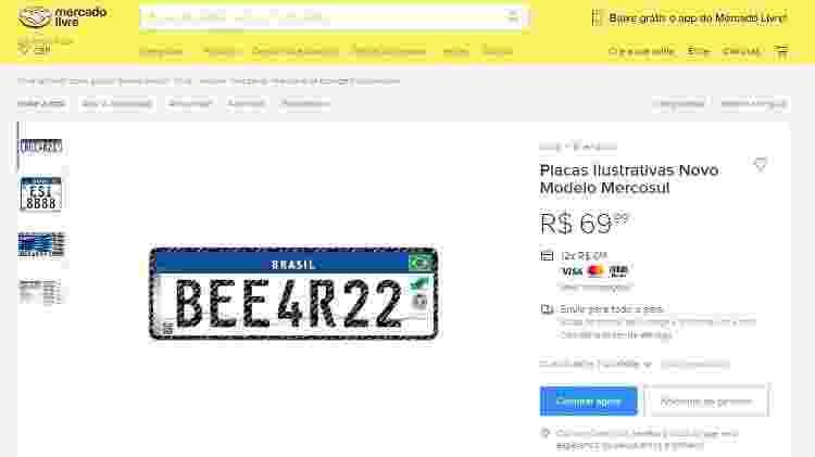 Réplica placa Mercosul vendida no Mercado Livre - Reprodução - Reprodução