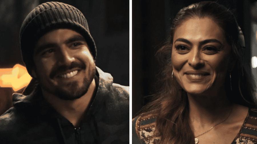 Maria da Paz (Juliana Paes) e Rock (Caio Castro) em A Dona do Pedaço - Reprodução/Montagem