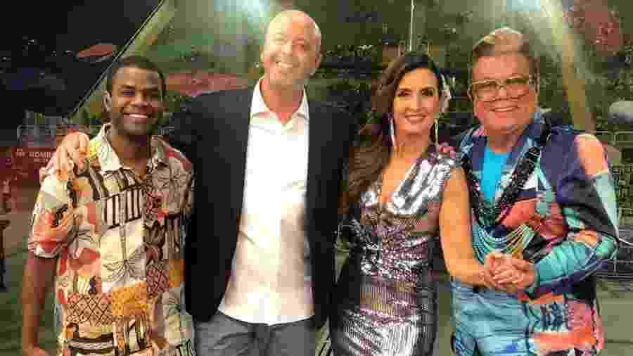 Fátima Bernardes e a equipe da Globo na Sapucaí - Reprodução/Instagram