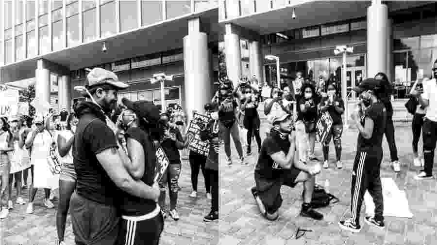 Casal fica noivo em manifestação nos EUA - Reprodução/Instagram