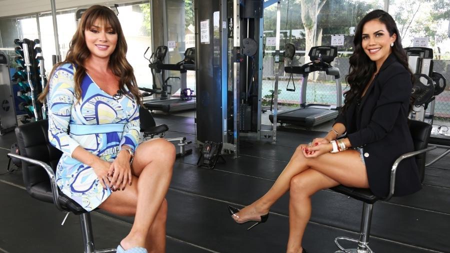 """Juju Salimeni com Daniela Albuquerque no """"Sensacional"""", da RedeTV! - Divulgação/RedeTV!"""