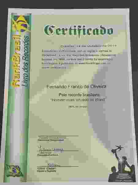Certificado RankBrasil - Arquivo Pessoal/Fernando Oliveira - Arquivo Pessoal/Fernando Oliveira