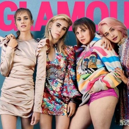 """A capa da edição de fevereiro da revista Glamour com o elenco de """"Girls"""" - EMMA SUMMERTON/GLAMOUR"""