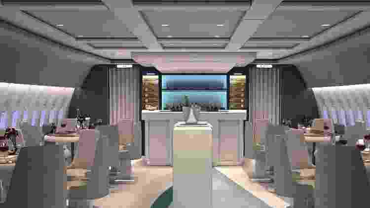 Dentro da aeronave da Crystal AirCruises, haverá seis mesas de jantar - Divulgação/Crystal AirCruises