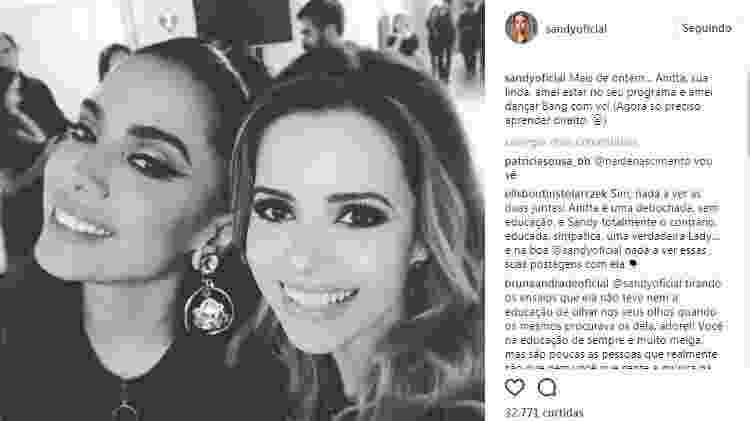 Sandy posta foto ao lado de Anitta - Reprodução - Reprodução