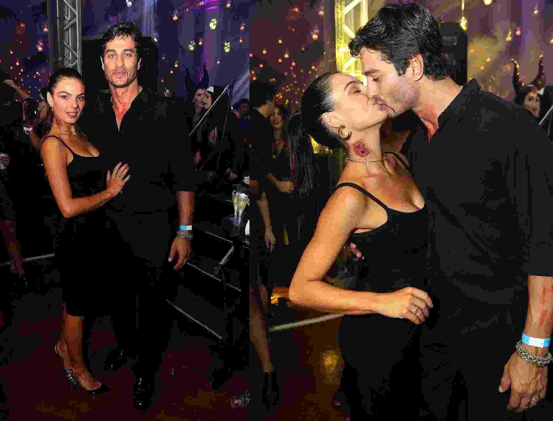 Isis Valverde beija muito o namorado André Rezende na festa de Halloween do Copacabana Pallace, que aconteceu na madrugada de sábado (28) para domingo no Rio. A atriz usou uma maquiagem de uma mordida de vampiro no pescoço - Marcos Ferreira/Brazil News