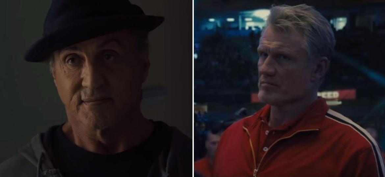 "Rocky Balboa (Sylvester Stallone) e Ivan Drago (Dolph Lundgren) em cena de ""Creed 2"" - Reprodução"