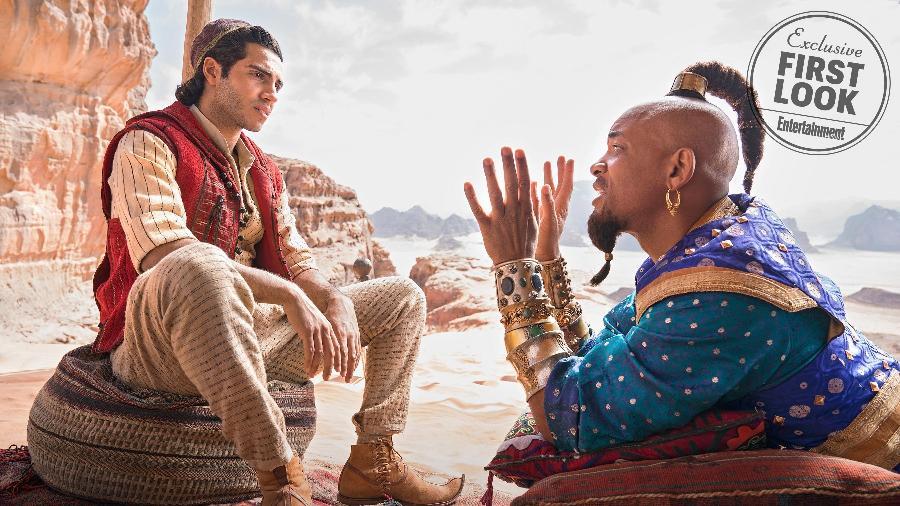 Mena Massound como Aladdin e Will Smith como o Gênio - Divulgação/EW