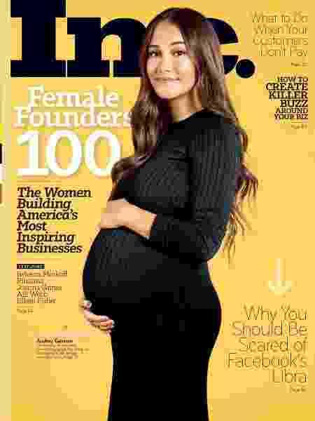 Audrey Gelman é primeira grávida com barrigão a posar para uma capa de revista de negócios - Divulgação