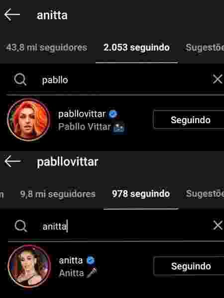 Anitta e Pabllo Vittar voltaram a se seguir nas redes sociais - Reprodução/Instagram