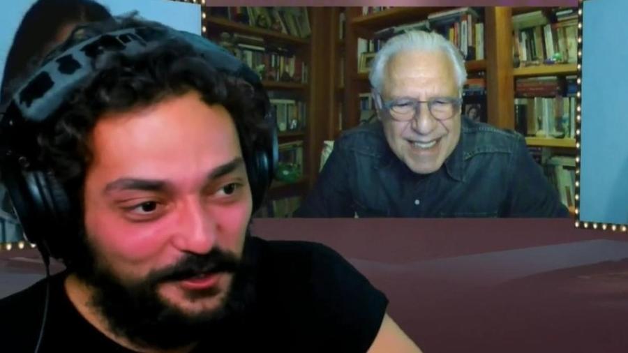 Antonio Fagundes durante entrevista para Eduardo Sterblitch - Reprodução de vídeo