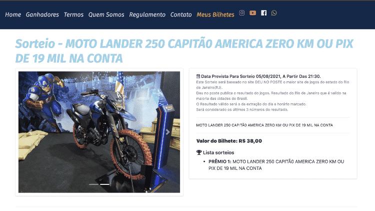 Rifas Gold anunciou para hoje sorteio de Yamaha Lander 250 segundo números do jogo do bicho - Reprodução - Reprodução