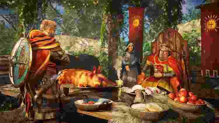 Rei Carlos, o Gordo, ao lado da rainha Ricarda em Assassin's Creed - Divulgação/Ubisoft - Divulgação/Ubisoft