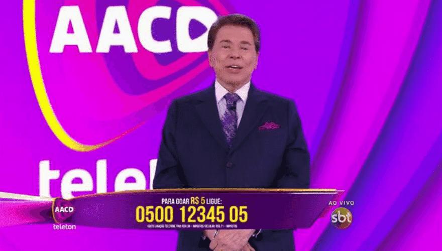 24.out.2015 - Silvio Santos no Teleton 2015 - Reprodução/SBT