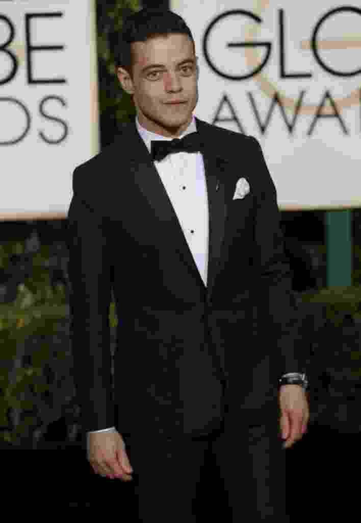 10.jan.2016 - Rami Malek no tapete vermelho do Globo de Ouro 2016 - REUTERS