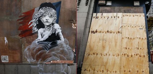 Antes e depois do mural do artista britânico Banksy pintado em frente à embaixada - Stefan Wermuth/Reuters e Chris Ratcliffe/AFP