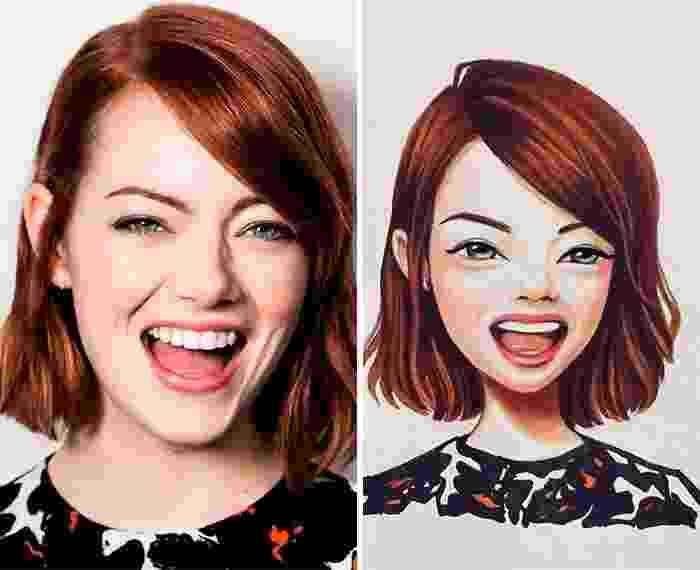 A ilustradora russa Lera Kiryakova tem o dom de transformar celebridades em desenhos. Na imagem, a atriz Emma Stone - Reprodução/Instagram