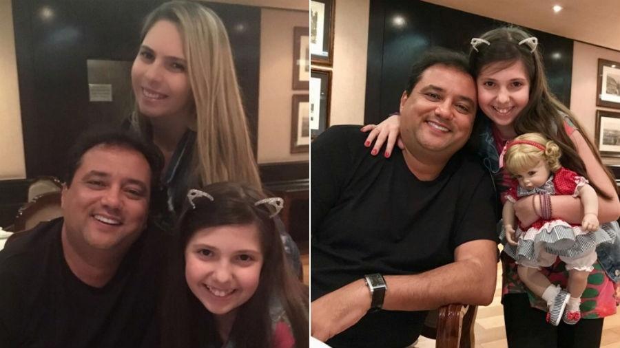 Geraldo Luis com Luciana Lacerda e a filha dela, Giovanna - Reprodução/Instagram