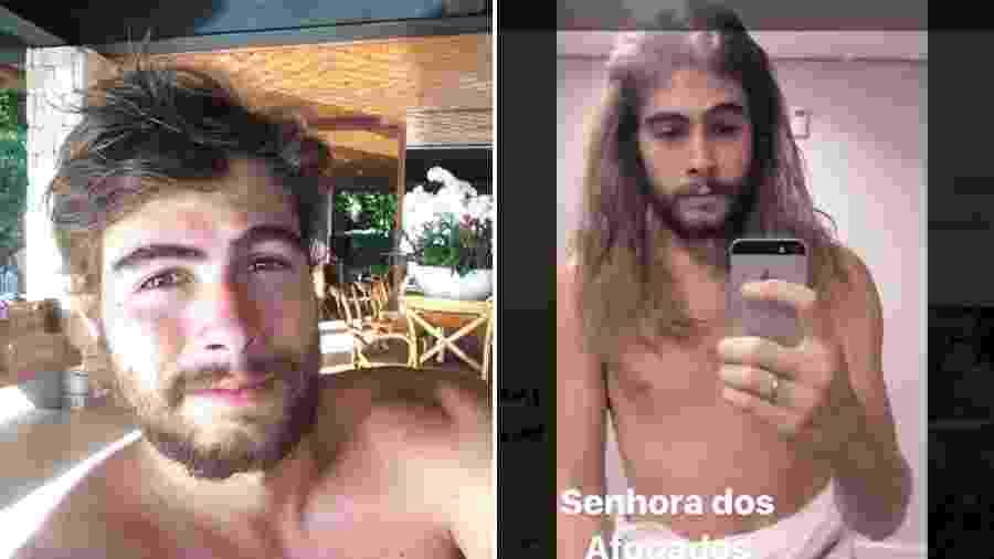 Rafael Vitti sem e com a peruca usada em peça - Reprodução/Instagram