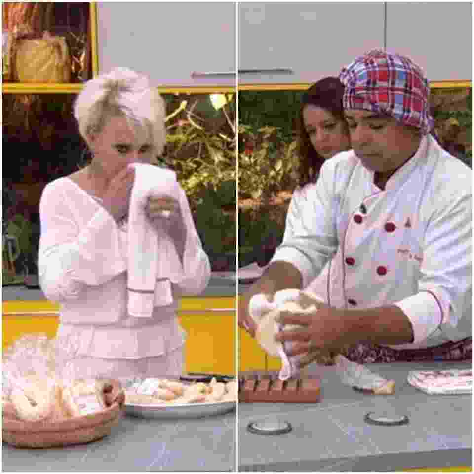 Ana Maria Braga comete deslize e passa pano de prato no nariz - Reprodução/TV Globo Montagem/UOL