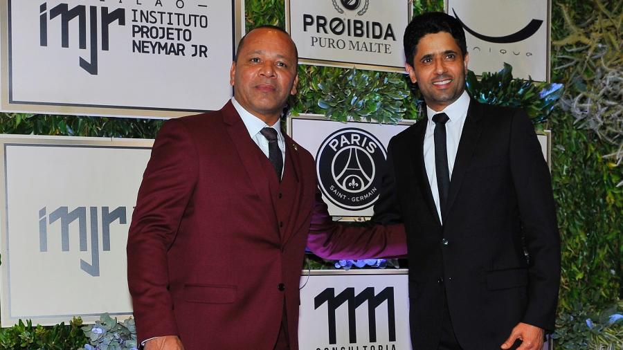 Neymar pai vai a leilão do Instituto Neymar Jr. acompanhado do presidente do Paris Saint-Germain, Nasser Al-Khelaifi - Imagem/Brazil News