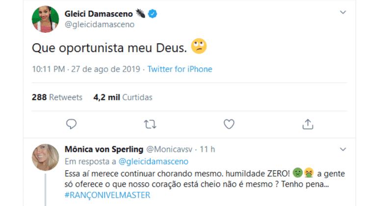 Gleici Damasceno manda indireta para Paula Sperling; irmã de Paula, Mônica von Sperling, rebate - Reprodução/Twitter - Reprodução/Twitter