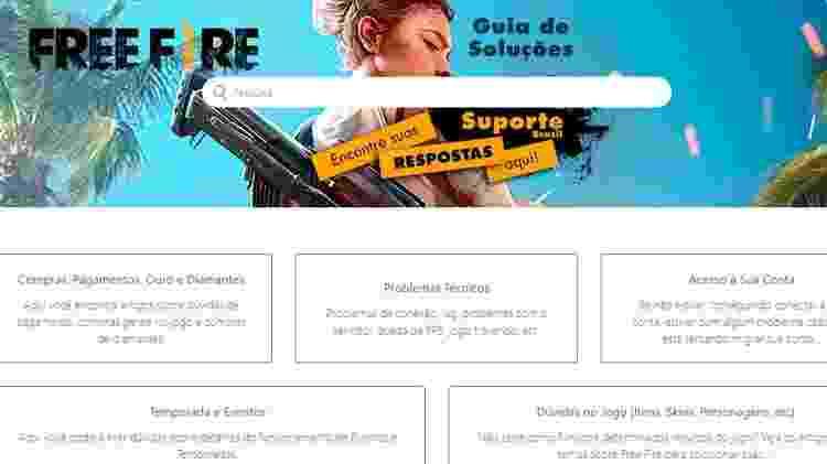 Site oficial da Garena auxilia com dúvidas frequentes dos jogadores - Divulgação/Garena