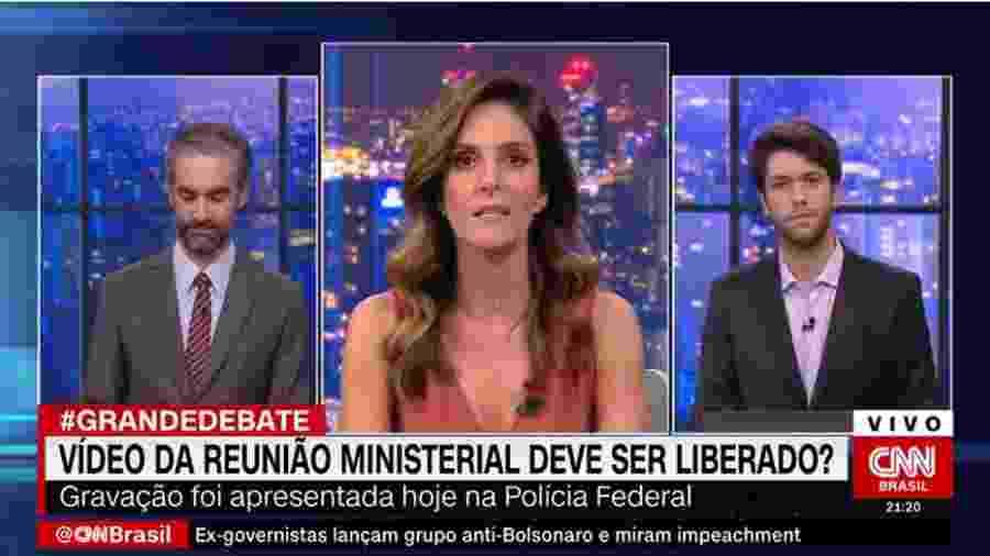 """Monalisa Perrone apresenta """"O Grande Debate"""", na CNN, com Caio Coppola (à dir.) e Augusto de Arruda Botelho (à esq.) - Reprodução/CNN Brasil"""
