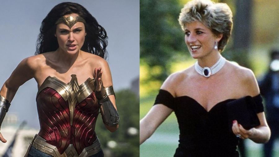 """Gal Gadot em cena de """"Mulher-Maravilha 1984"""" e princesa Diana em um clique antigo - Reprodução"""