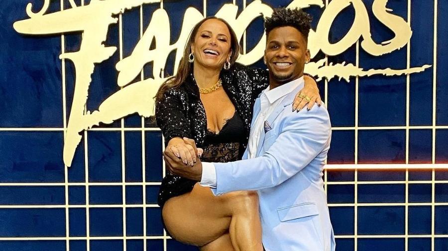 """Viviane Araújo com o ex-parceiro Adeilton Ribeiro na """"Super Dança dos Famosos"""" - Reprodução/Instagram"""