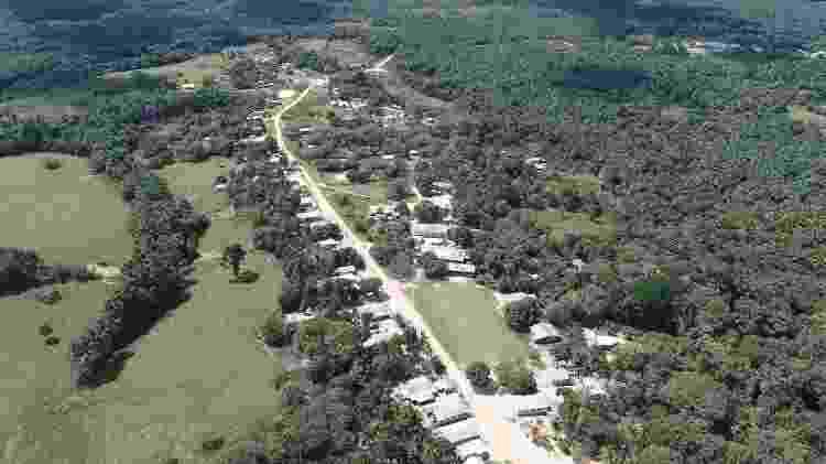 Vista aérea da aldeia Ipiranga na TI Poyanawa, cercada pela floresta - Embrapa/divulgação - Embrapa/divulgação