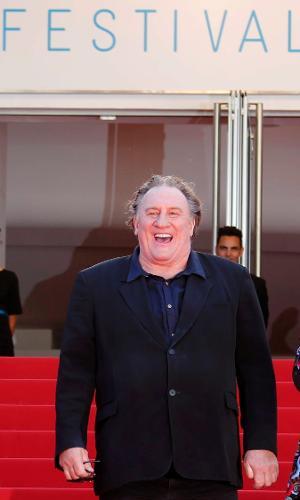 22.mai.2015 - Gérard Depardieu no Festival de de Cannes
