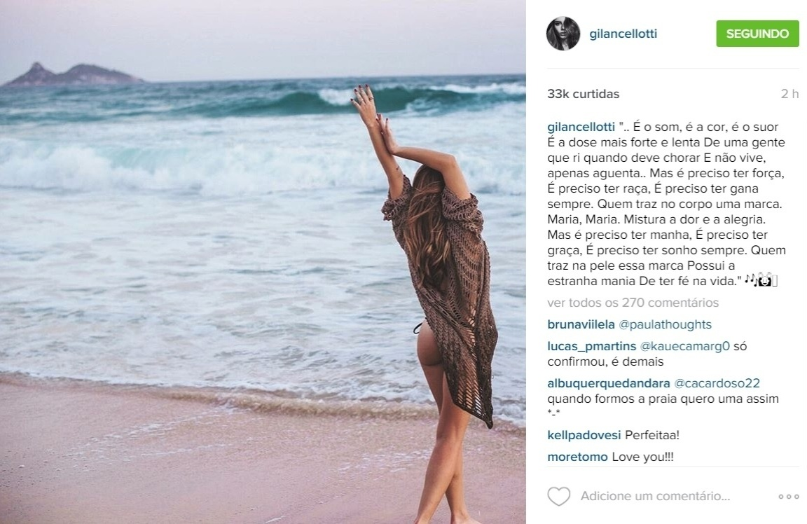 19.out.2015 - Giovanna Lancellotti continua em ótima forma. Na noite desta segunda-feira, a atriz, que atualmente interpreta a personagem Luana em