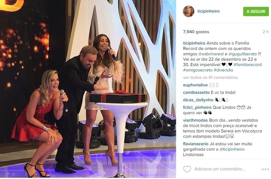 Ticiane Pinheiro, Gugu Liberato e Sabrina Sato se divertem no palco do