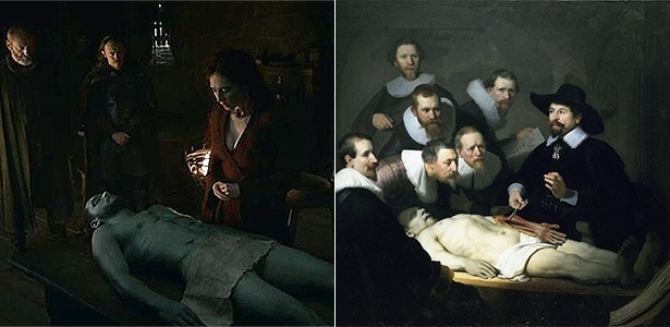"""Cena de """"Game of Thrones"""" inspirada em quadro de Rembrandt (à direita) - Reprodução/Montagem UOL"""