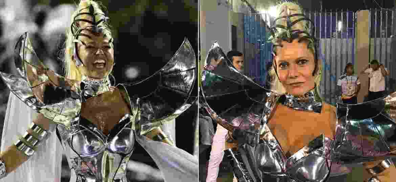 A apresentadora Xuxa e a fundadora da Grande Rio Carla Reis usaram a mesma fantasia, como destaque do 4º carro da escola - André Fabiano/FolhaPress e Ana Cola Lima/UOL