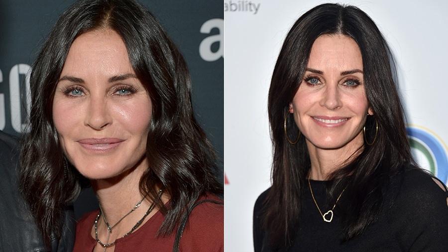 Courteney Cox em 2015 e em 2017 - Getty Images