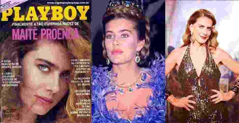 """Capa de fevereiro de 87, aos 29 anos, Maitê Proença foi anunciada como a """"nudez tão esperada"""" na capa da """"Playboy"""". Na ocasião, a atriz era um símbolo sexual por ter acabado de interpretar, em 86, Dona Beija, a protagonista da novela da Manchete que adorava tomar banhos de cachoeira. Maitê posou novamente nua para a revista em agosto de 1996 - Reprodução/Playboy/ Reprodução/Instagram"""