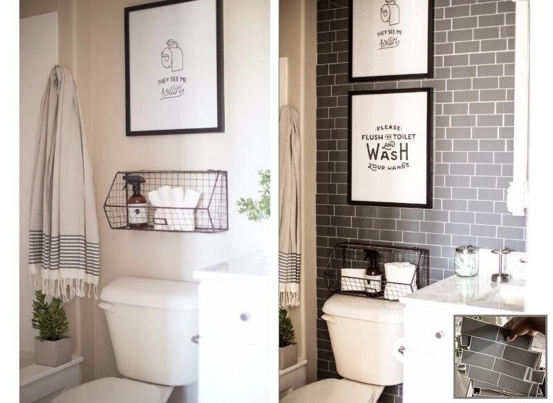 Já Destiny Alfonso, blogueira e especialista americana em faça você mesmo queria um banheiro com temática industrial e para isso apostou em placas adesivas em formato de tijolos retrô. Os subway tiles, como são chamados, são inspirados nas paredes dos metrôs de Londres e Nova York e, por serem atemporais, podem ser usados, sem restrição alguma, nos mais diferentes ambientes