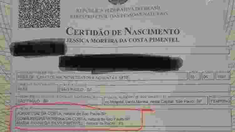 Nova certidão de nascimento de Jessica incluindo Maria Avany, Maria do Carmo e Albano Pimentel - Arquivo Pessoal - Arquivo Pessoal