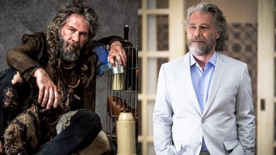 Feliciano (Leopoldo Pacheco) antes e depois da transformação - João Miguel Junior / Globo