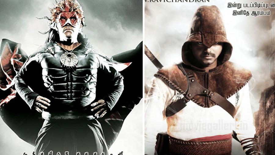 """Pôsteres de """"Kanthaswamy"""" (2009) e """"Velayudham"""" (2011) - Reprodução"""