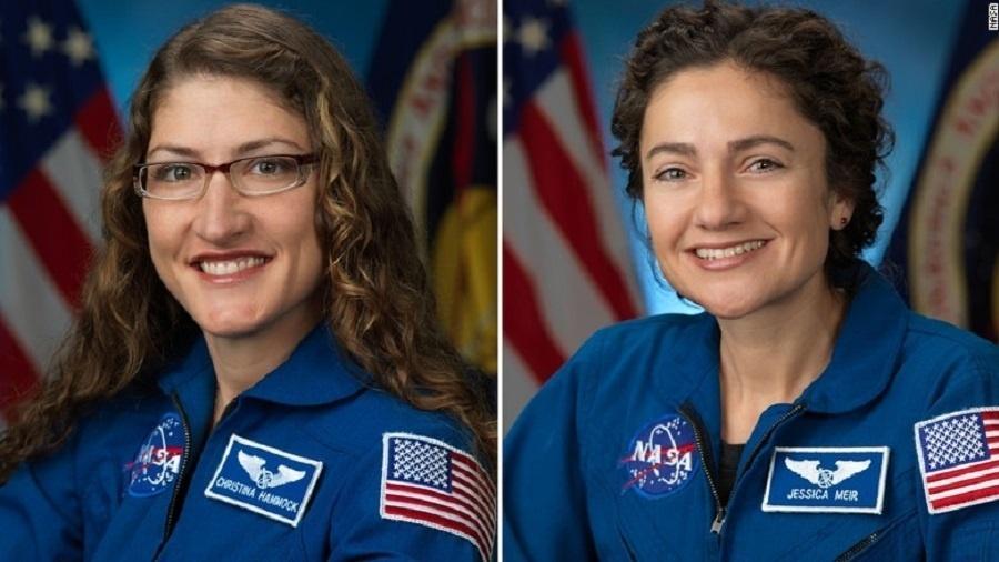 Christina Koch e Jessica Meir devem sair juntas da Estação Espacial Internacional em 21 de outubro - Reprodução/NASA