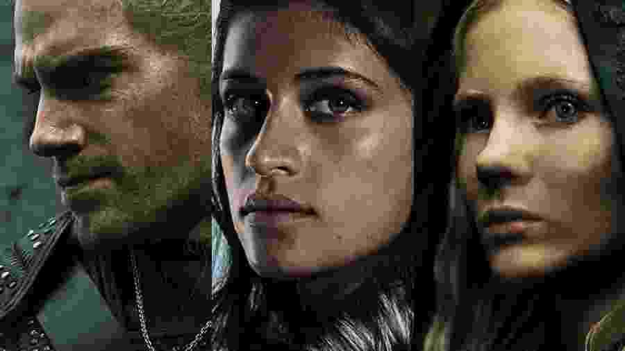 Geralt, Yennefer e Ciri: os três protagonistas de The Witcher - Divulgação/Netflix/Montagem UOL