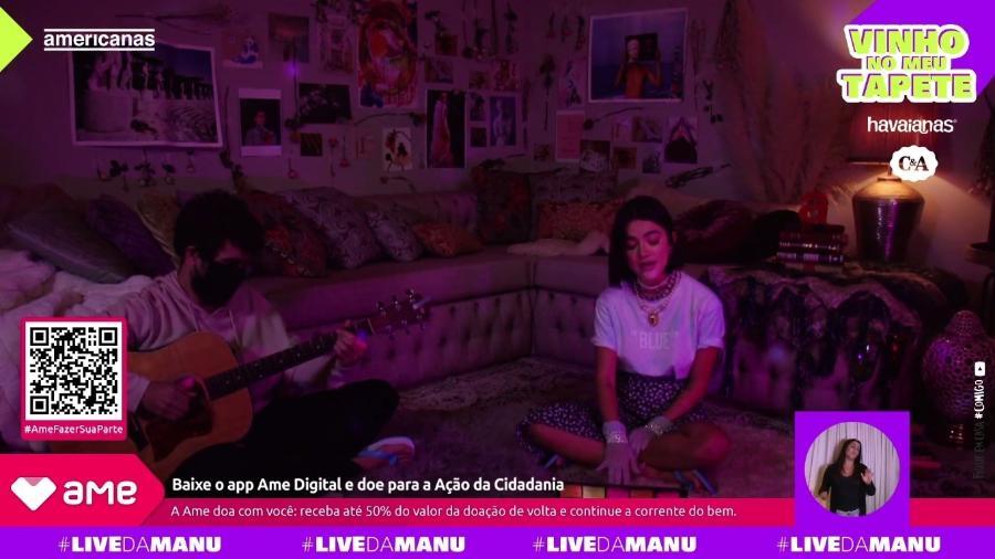 Manu Gavassi em live transmitida pelo YouTube - Reprodução/Instagram