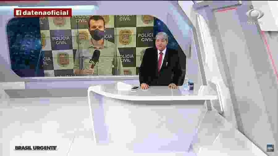"""Datena dispensa repórter ao vivo e afirma que saúde do jornalista era """"maior que qualquer coisa"""" - Reprodução/Brasil Urgente"""